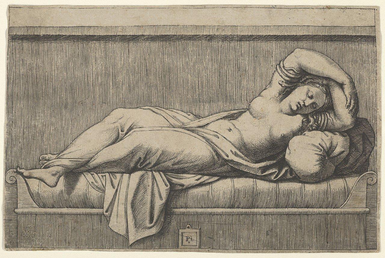 Cléopâtre allongée sur un lit