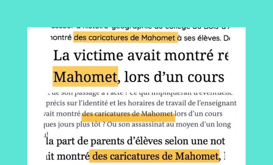 Extraits de presse employant le mauvais nom du prophète Mohammed