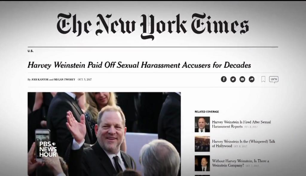 Une du New York Times sur l'affaire Weinstein