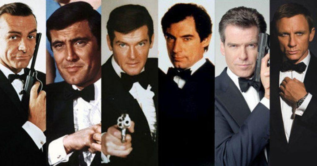 Les acteurs ayant incarné James Bond :Sean Connery, George Lazenby, Robert Moore, Timothy Dalton, Pierce Brosnan et Daniel Craig. :