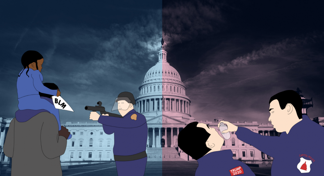 Illustration du double standard des forces de police à l'égard des populations blanches et noires aux USA.