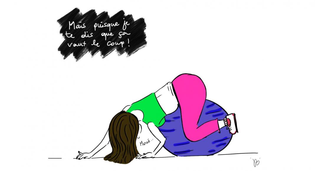 Illustration : femme se musclant le périnée sur un ballon