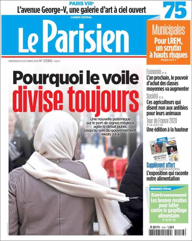 """Une du Parisien """"pourquoi le voile divise toujours"""""""