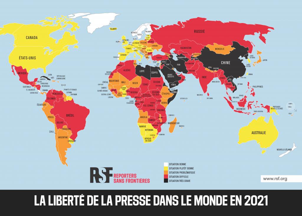 #RSFINDEX : le classement mondial de la liberté de la presse, carte mondiale