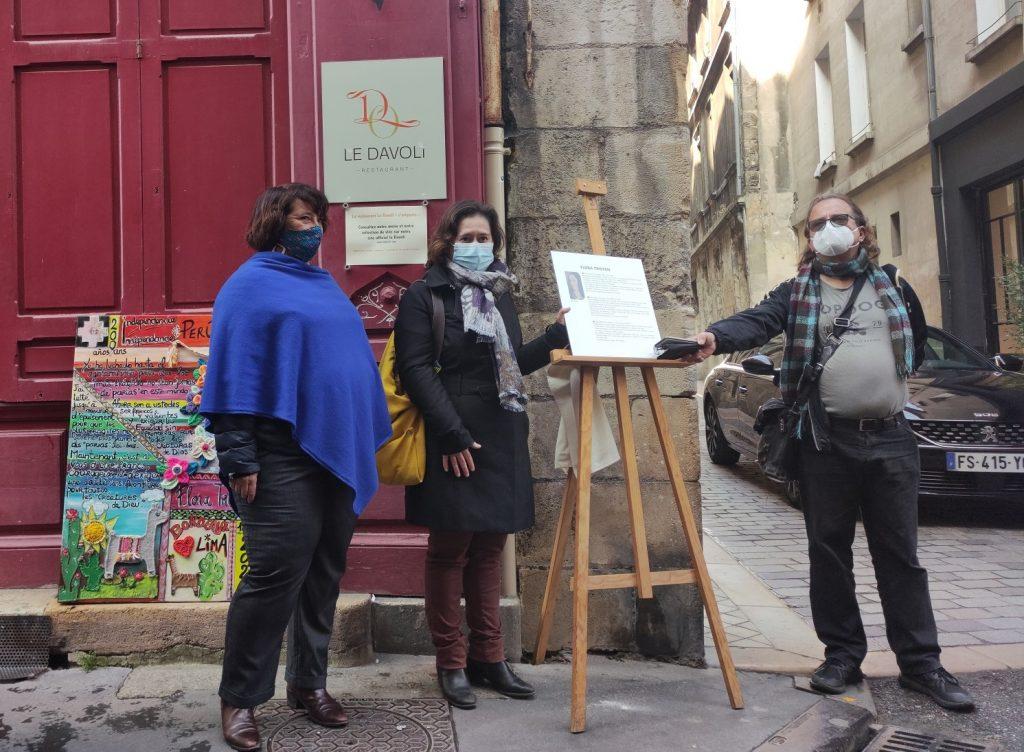 Pascale Roux et Céline Papin inaugure la plaque commémorative de Flora Tristan à Bordeaux