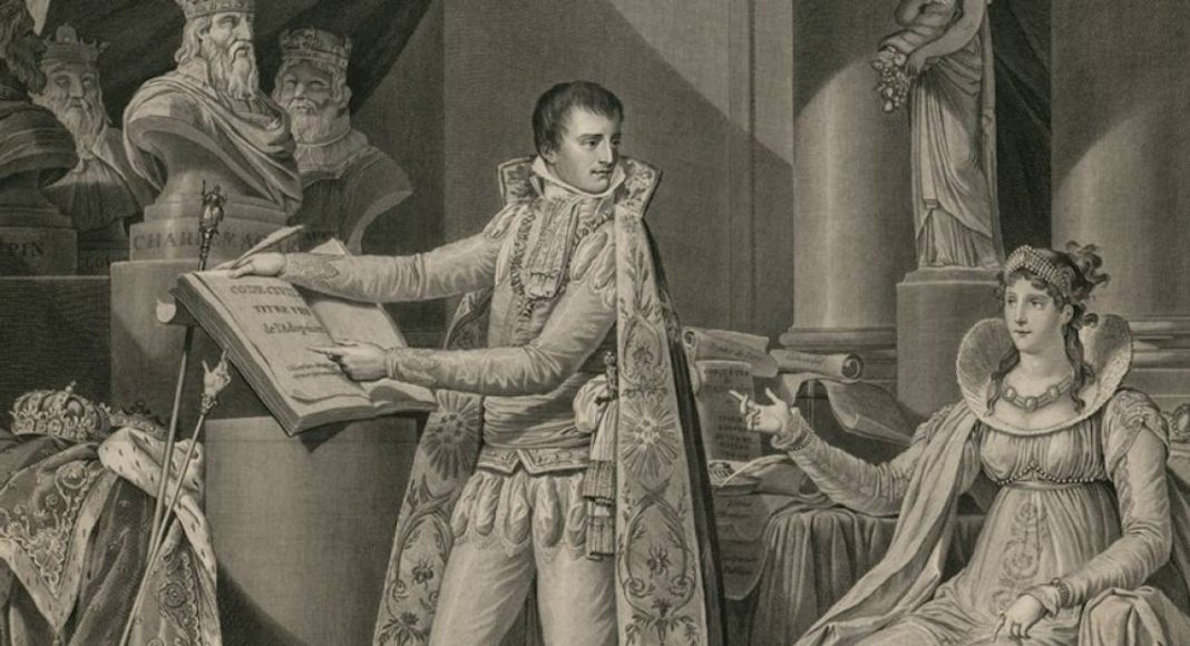 Napoléon montrant à sa femme Joséphine le Code Civil - Estampe de David, 1804 - source : Gallica-BnF